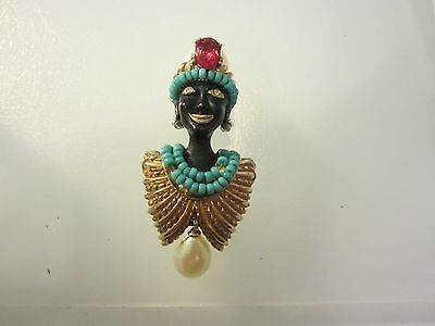 Ciner Rare Jeweled Blackamoor Brooch