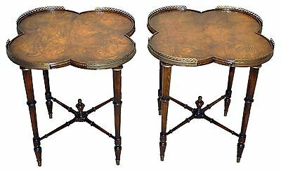 Pair of Regency Style Side, End Tables with Burl Clover Top and a Brass Gallery