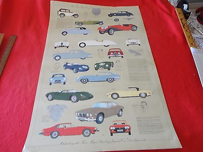 Vintage original poster More than fifty years of Jaguar cars from England 38x25""