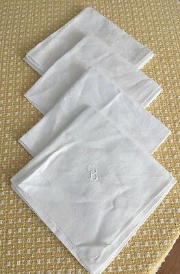 "4 Vintage Antique Large 24"" X 24"" White Damask Linen Dinner Napkins Monogrammed"