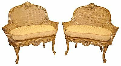 Pair of Italian Style Settees, loveseats, Heavily Carved & Double Side Caned