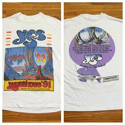 Vtg 1991 Yes Yesshows Union '91 Tour Concert T Shirt Round The World In 80 Day L
