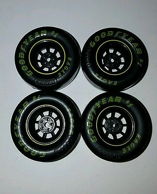 Four (4) Small NASCAR Goodyear Tires w. Rims. 1/24-1/25 scale parts only
