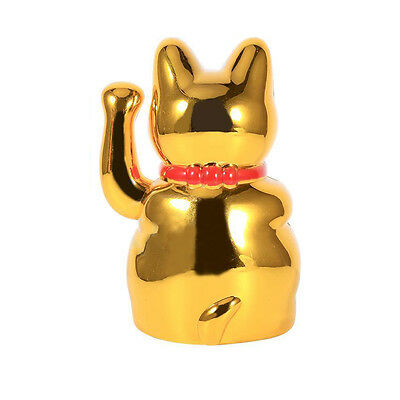 "5"" Chinese Fortune Hand Lucky-Waving Cat Figure With Shui Moving Arm Feng Gold"