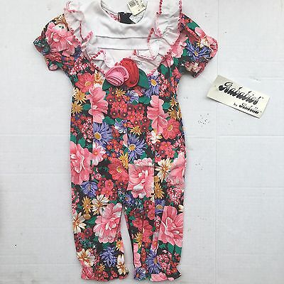 Deadstock Vintage Floral Jumper 9 Months Fancy Collar New With Tags