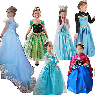 HOT Girls Cartoon Movie Costume Cinderella Elsa Ana Frozen Princess Party Dress