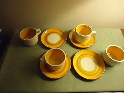 4 Stangl Sun Pebbles Cups and Saucers