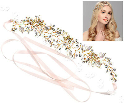 Wedding Bridal Crystal Head Chain Jewelry Headband Head Piece Hair Band Gold