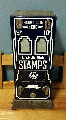 VTG Shipman Blue Porcelain Front 5 Cent & 10 Cent Stamp Machine Los Angeles, CA