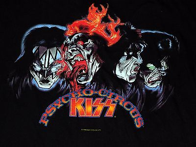 KISS Psycho Circus Comic Art T-Shirt 1998 Gene Simmons Ace Frehley Paul Peter