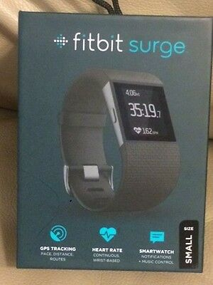 Fitbit Surge Super Watch GPS Fitness Tracking Heart Rate Monitor SMALL Black NIB
