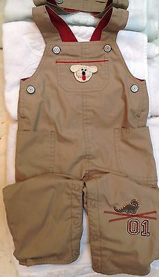 NEW TAN RED OVERALLS PANTS DINOSAUR 9 12 MONTHS w/ DOG BABY BOYS GIRLS INFANT