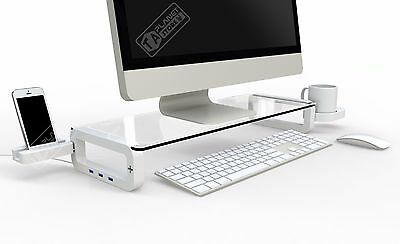 UBOARD SMART 3.0 Tempered Glass Monitor Laptop Stand Shelf - Builtin 3 x USB 3.0