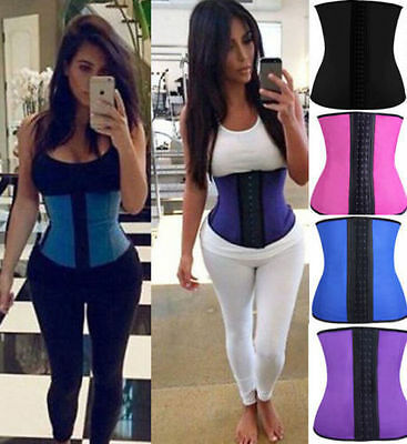 Latex Waist Trainer Zip Up Waist Training Corset Rubber Waist Cincher Gym Shaper