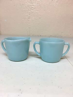 Fire King Turquoise Blue Creamer And Sugar Set