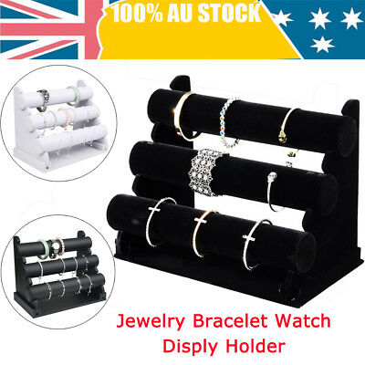 3-Tier Leatherette Jewelry Bracelet Watch Display Holder Rack Stand Showcase AU