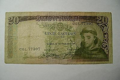 FOREIGN CURRENCY: Portuguese Vinte (20) Escudos Banknote, Dated 1964, Circulated