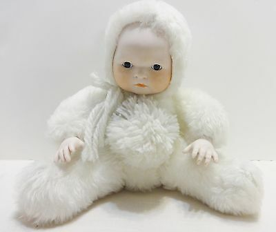 Vintage Snow Baby Musical White Plush Porcelain Face Hands White Christmas Doll