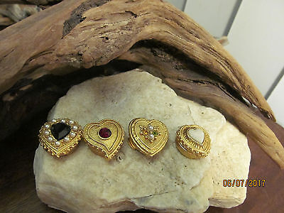 Vintage Gold Tone MOP Faux Onyx Pearl Rhinestone Heart Shaped Button Covers Four