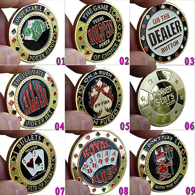 1PCS All in Dealer Button Pressing Poker Chips Cards Protector Souvenir Coins