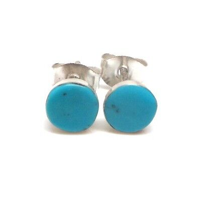 Zuni Turquoise Sterling Silver Handmade Post Circle Earrings