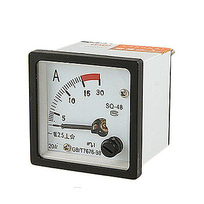 SQ48 Analog AC Current Panel Meter Amperemeter 0-15A Gauge Weiss+Schwarz O1T4