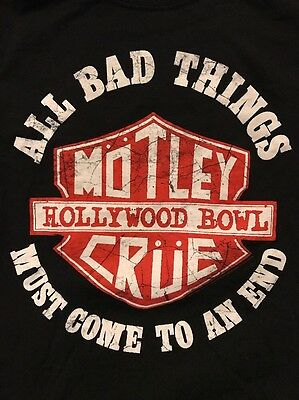 Motley Crue All Bad Things Must End Hollywood Bowl July 21 2014 Black Small Tee