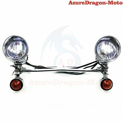 Chrome Motorcycle Driving Passing Bullet Turn Signal Spot Fog Lights Bar AU