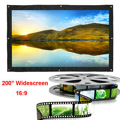 200 Inch 16:9 White Projection Screen Curtain Home Theater Cinema Projector