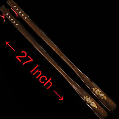 27 Inch Extra Long Handled Shoehorn Rose Wood Shoe Horn Pack of 2