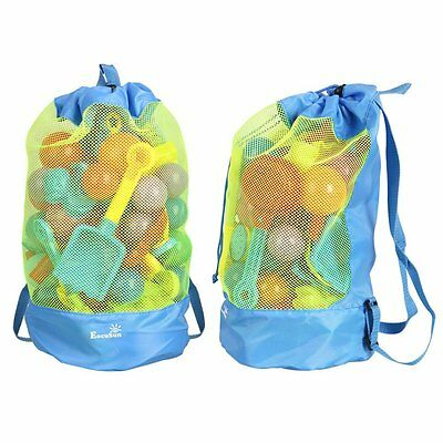 Beach Bag Toys Storage Blue Large Mesh Durable Sand Away Drawstring Backpack New