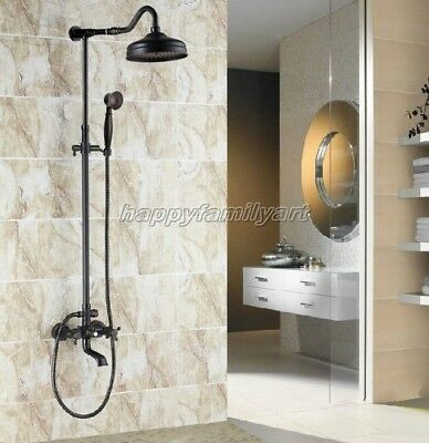 Black Oil Rubbed Bronze Bathroom Rain Shower Faucet Set Tub Mixer Tap yrs665