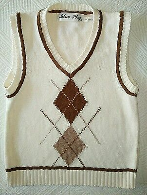 Baby Boy's Toddler Sleeveless Knit Vest sz 1 Cream Brown Patterned