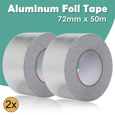 2 Rolls Reinforced Aluminum Foil Insulation Tape Heating Duct 72MM x 50M Sliver