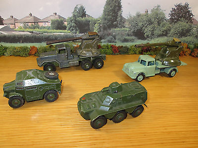 8Fp Lot Of 6 Vintage Dinky Britain's Benbros Military Vehicles Apc 688 Tractor +