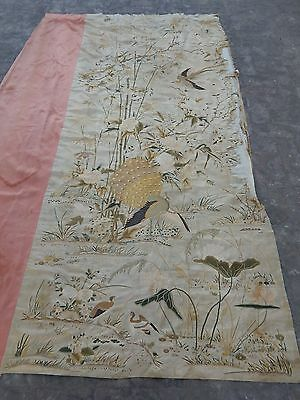 Large Antique Chinese Silk Hand Embroidered Qing Dynasty Panel (X299)