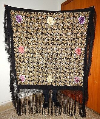 Antique Beautiful Chinese Machine Embroidered Silk Piano Shawl Ps144