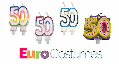 50th Birthday Candle 4 Designs Anniversary Party Celebration Cake Topper Age 50