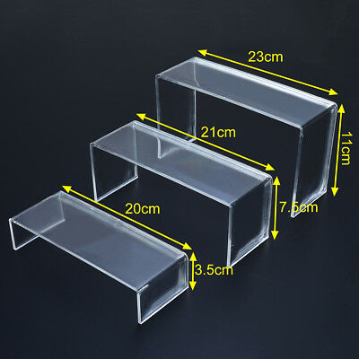3Pcs Clear Acrylic Shoes Display Stand Jewellery Cosmetics Rack Organiser Holder