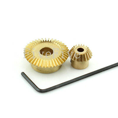 0.5M-40T-20T Teeth Brass Umbrella Tooth Bevel Gear 90° Angle Set Kit Ratio 2:1
