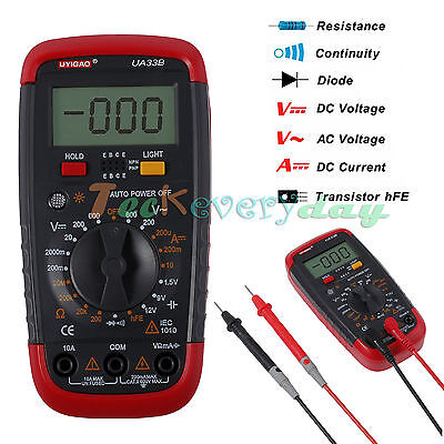 UA33B LCD Digital Auto Multimeter Voltmeter Ammeter AC DC Voltage OHM Tester