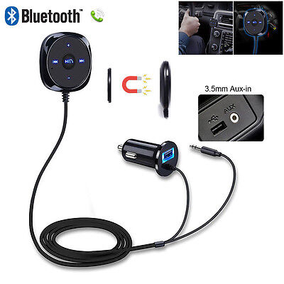Wireless BLUETOOTH Audio Music Receiver Stereo 3.5mm AUX Car Adapter Magnetic