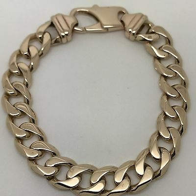 """9Carat (9ct) Gold Heavy Curb Bracelet - Solid Yellow Gold - 9"""" Long - 58.08g"""