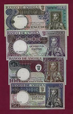 Portugal Angola SET 50 + 100 + 500 + 1000 ESCUDOS 1973 XF-UNC   - West Africa