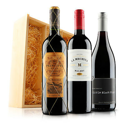 Virgin Wines Sendagift Classic Red Wine Gift Trio in Wooden Gift Box