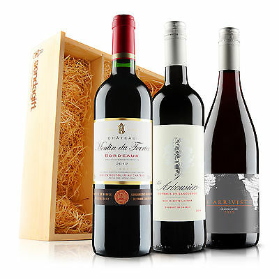 Virgin Wines Sendagift French Red Wine Gift Trio in Wooden Gift Box