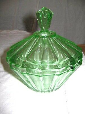 Art Deco Circa 1930's Depression Green Glass Sugar or Preserves Bowl with Lid