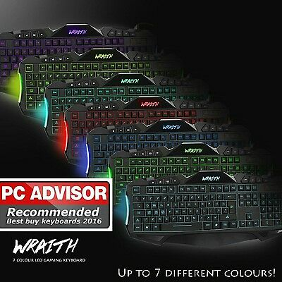Sumvision Wraith 7 Colour LED Gaming USB Wired Full Size Keyboard UK Layout