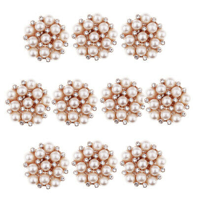 10pcs Gold Flower Crystal Pearl Flatback Buttons for Wedding Decoration 22mm