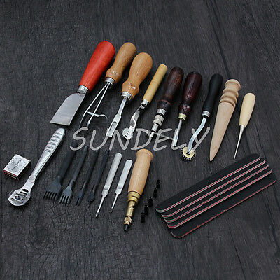 18 Vintage Leather Craft Kit Stitching Sewing Beveler Punch Working Hand Tools